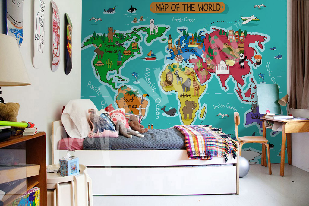 Wall world map for kids