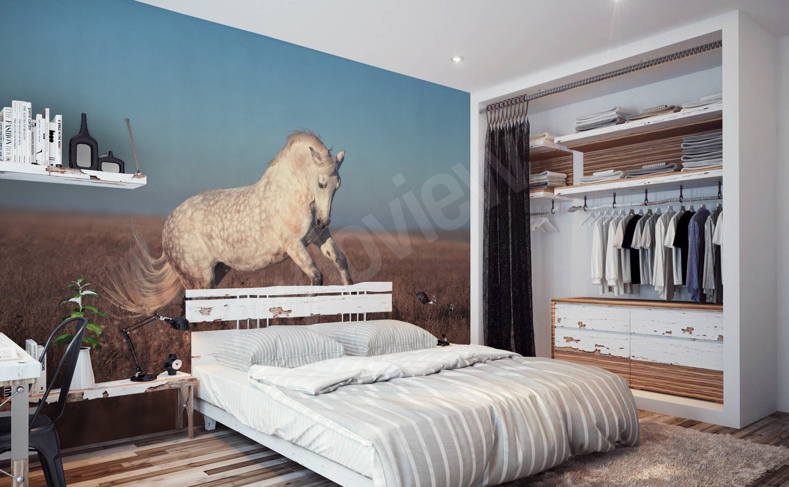 Go to the product   White horse mural. Murals Horses   to size of wall   myloview com