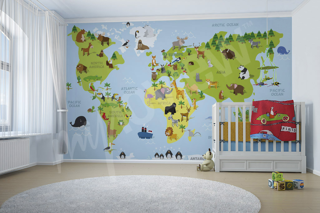 World map mural for kids