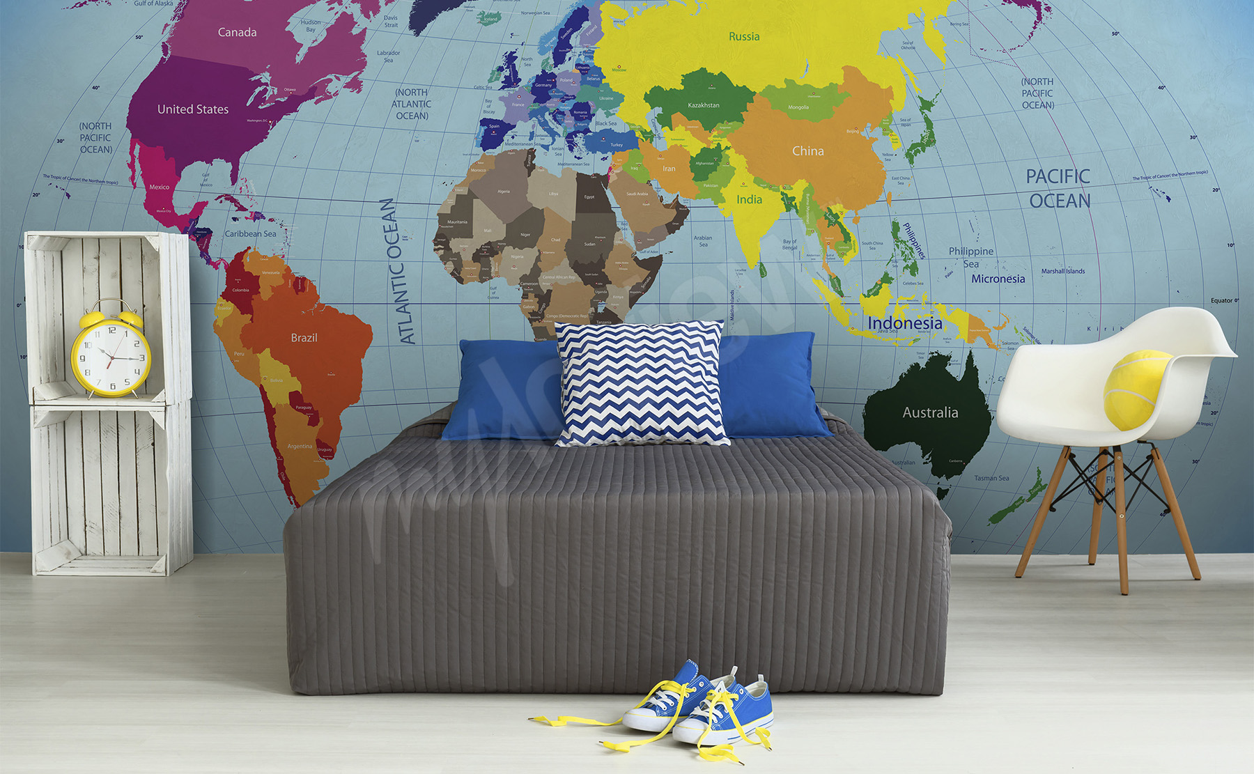 Murals world map to size of wall myloview go to the product world map mural for kids gumiabroncs Images