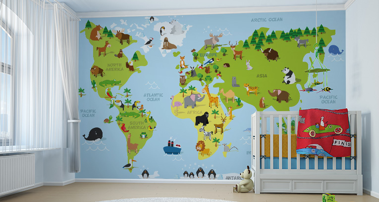 World map mural for kids - a unique decoration