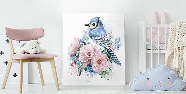 Bird and roses canvas print