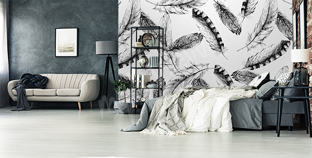 Bird feathers wall mural
