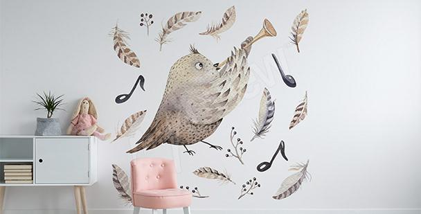 Bird musician sticker for girls