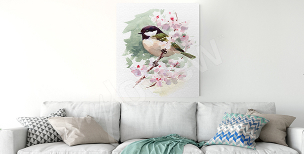 Bird on a tree branch canvas print