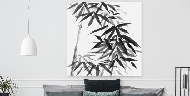 Black-and-white bamboo canvas print