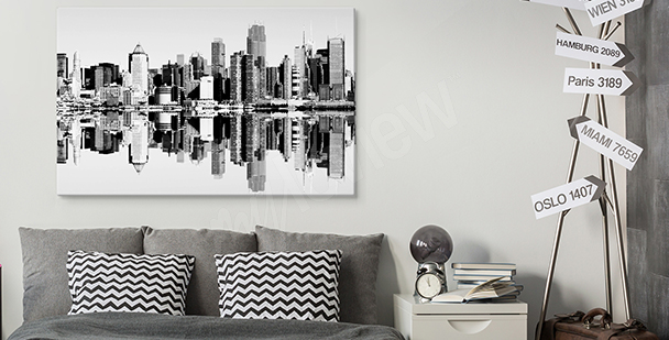 Black-and-white city canvas print
