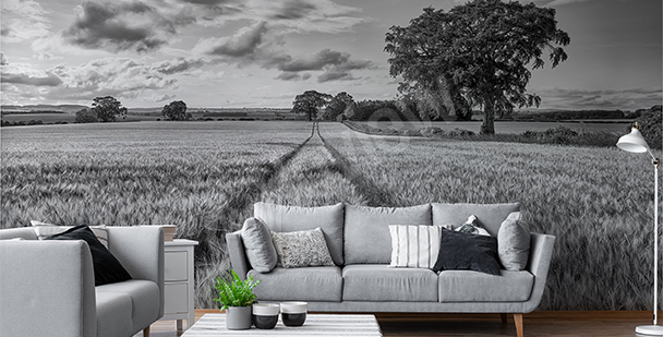 Black-and-white field mural
