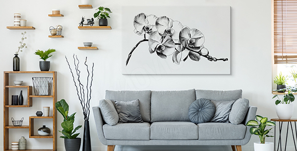 Black-and-white flowers canvas print
