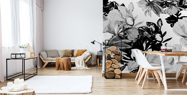 Black and white flowers wall mural