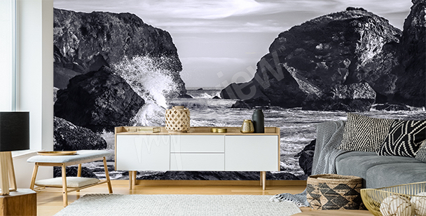 Black and white landscape wall mural