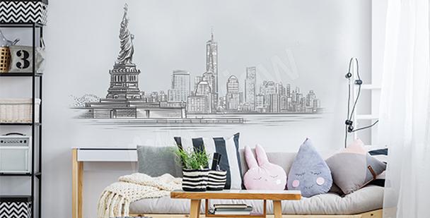Black-and-white living room sticker