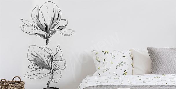 Black-and-white magnolia sticker