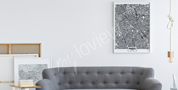 Black-and-white map poster