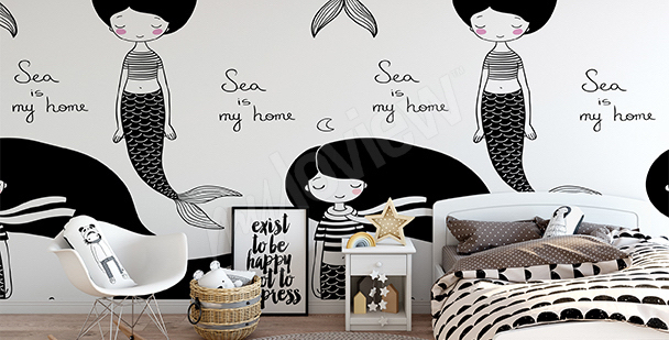 Black-and-white mermaids mural