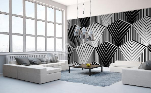 Black and white mural 3D