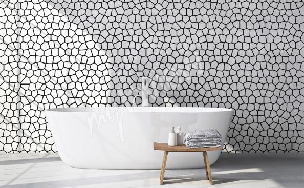 Black and white mural for bathroom