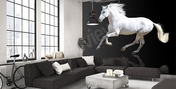Black and white mural with a horse