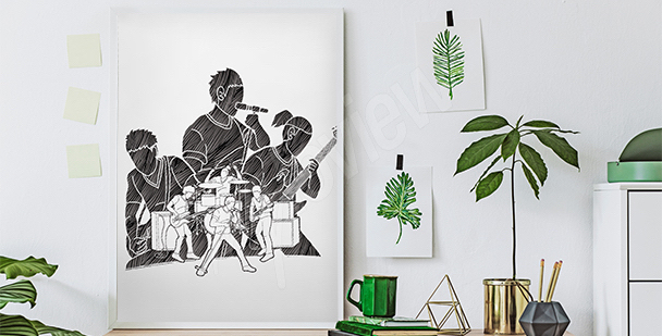Black-and-white musicians poster