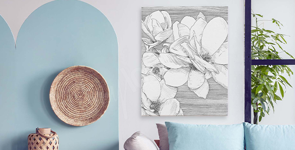 Black-and-white nature canvas print