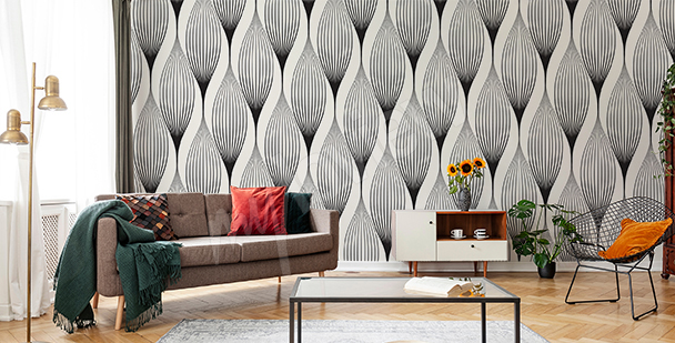 Black-and-white pattern mural
