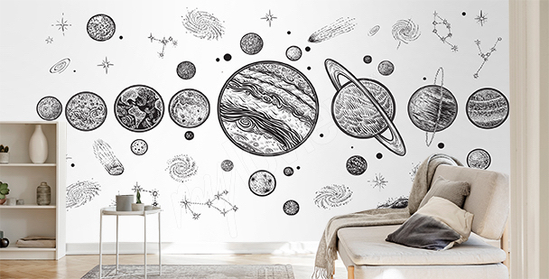 Black-and-white planet mural