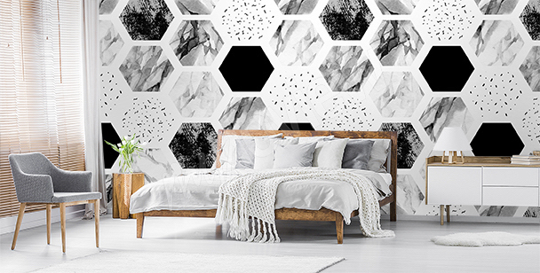 Black and white polygons wall mural
