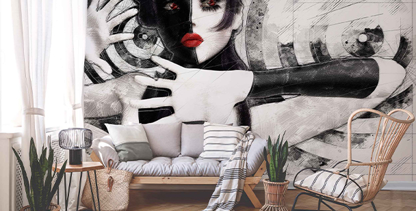 Black-and-white portrait wall mural