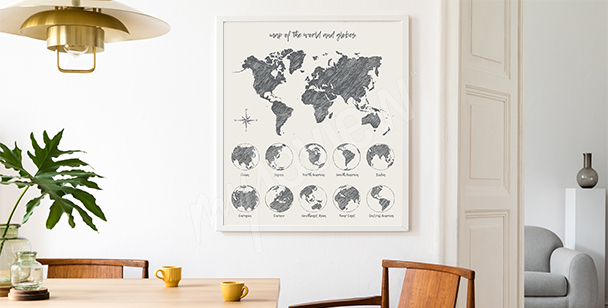 Black-and white poster with map