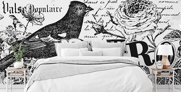 Black-and-white retro mural
