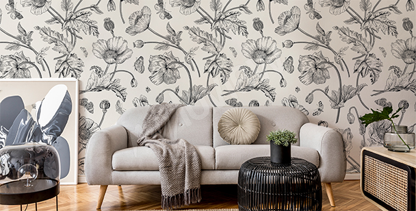 Black-and-white retro plants