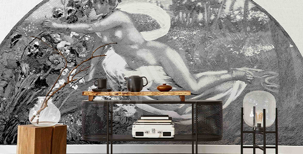 Black-and-white retro wall mural