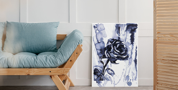 Black-and-white rose canvas print