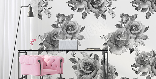 Black-and-white roses mural