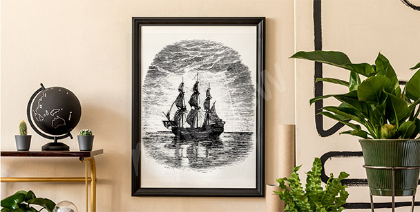 Black-and-white ship poster