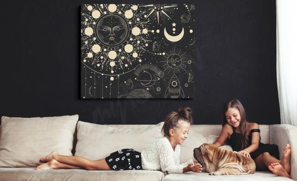 Black-and-white space canvas print