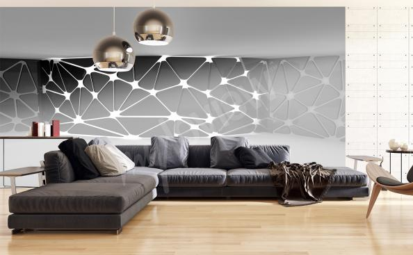 Black and white spatial wall mural