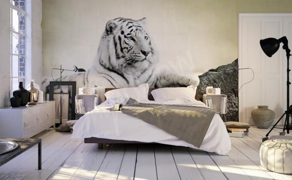 Black and white tiger mural