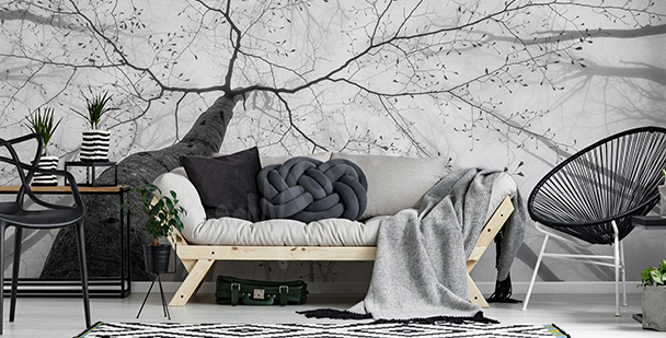 Black-and-white tree mural