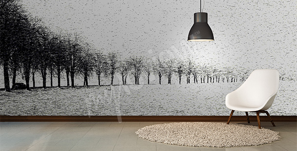 Black and white trees mural