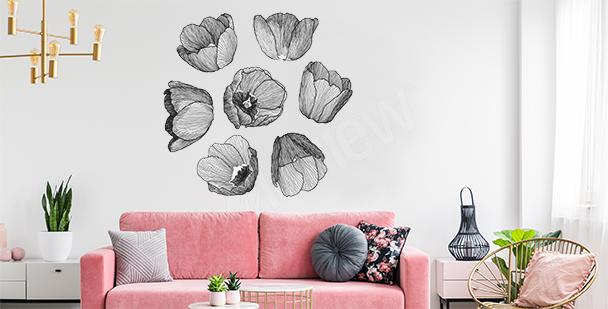 Black-and-white tulips sticker