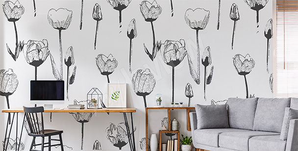 Black and white tulips wall mural