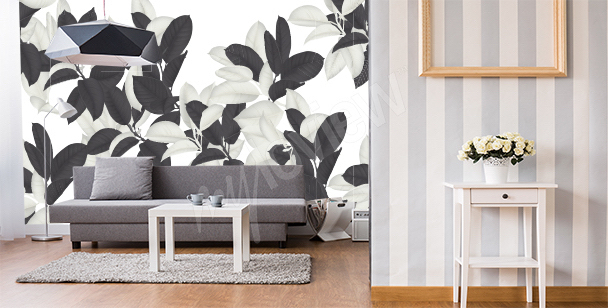 Black and white wall leaves mural