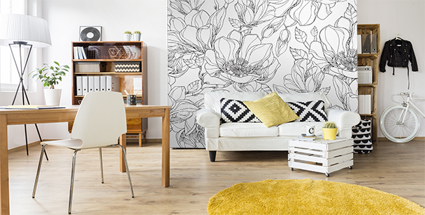 Black and white wall mural magnolias