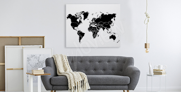 Black-and-white world map canvas print