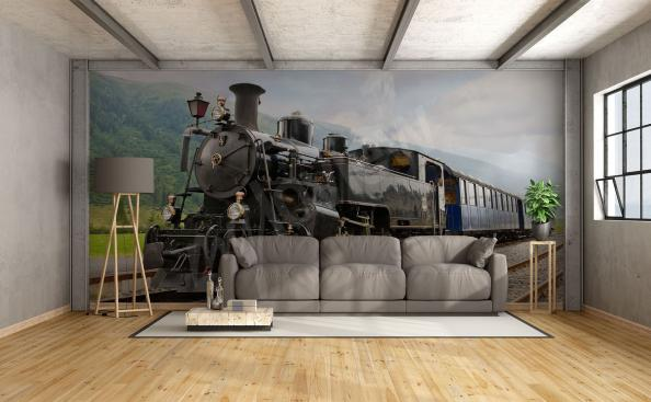 Black train wall mural