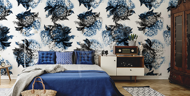 Blue mural with flowers