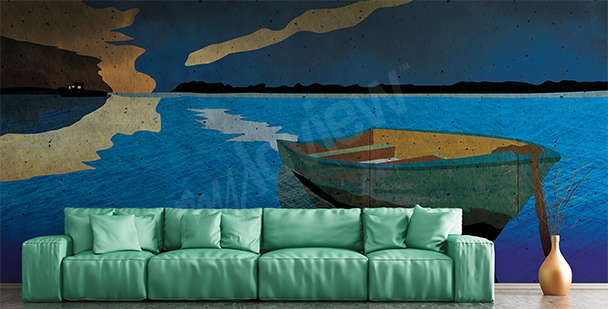 Boat on a sea wall mural