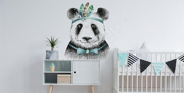 Boho-style panda sticker