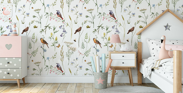 Botanic birds mural